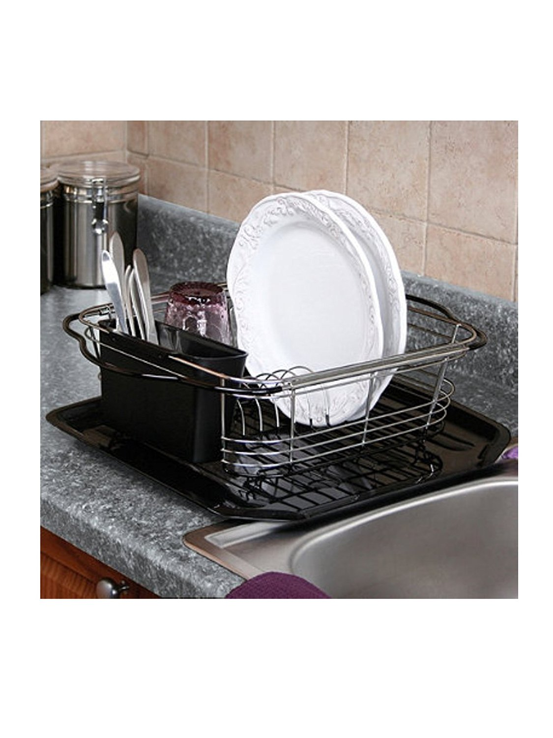 Small Dish Rack Expands For Use On The Counter, In The Sink Or Over The Sink .