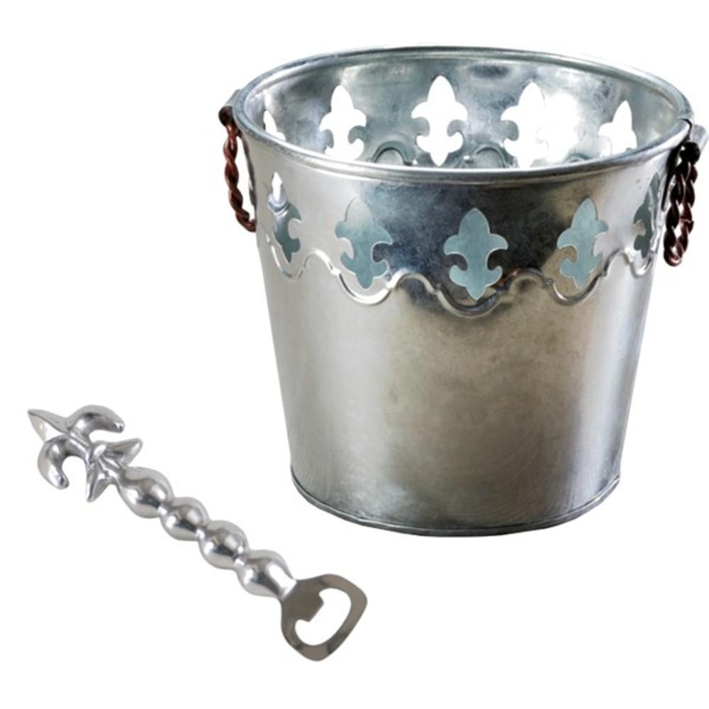 galvanized fleur de lis ice bucket with bottle opener rltsource llc. Black Bedroom Furniture Sets. Home Design Ideas