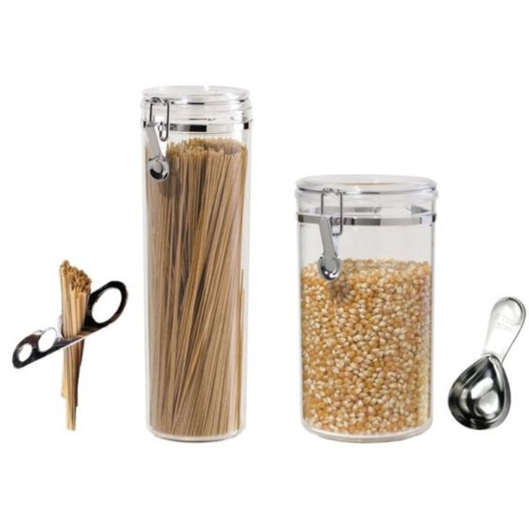 spaghetti-popcorn-canister-bundle  sc 1 st  RLTSource LLC & Oggi Canister Set u2013 Spaghetti Container Popcorn Canister Scoop and ...