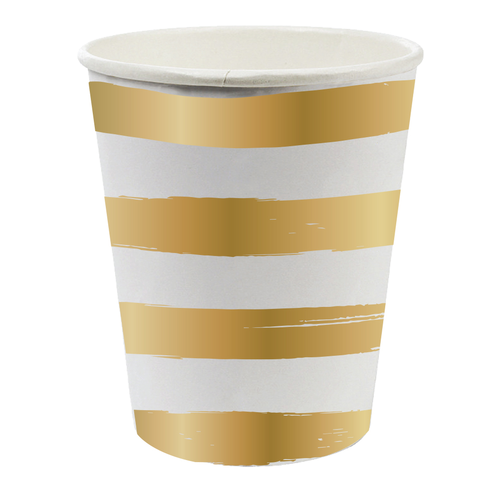 Gold Striped Cups