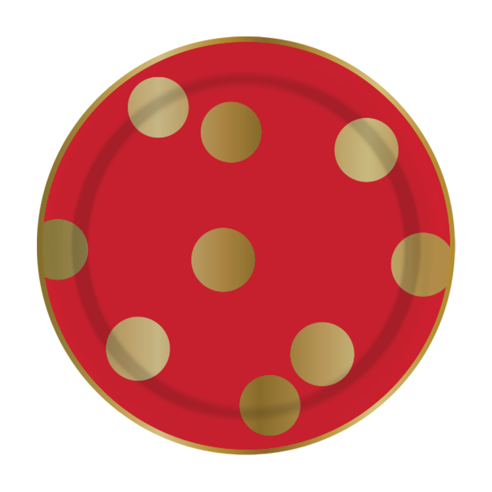 Red & Large Gold Dot Plates