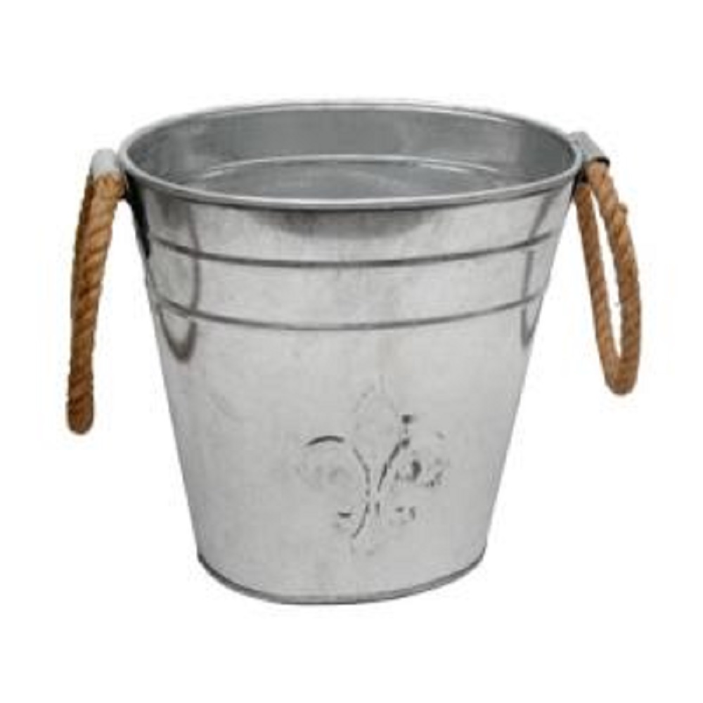 Fleur De Lis Bucket w Jute Handles 15413