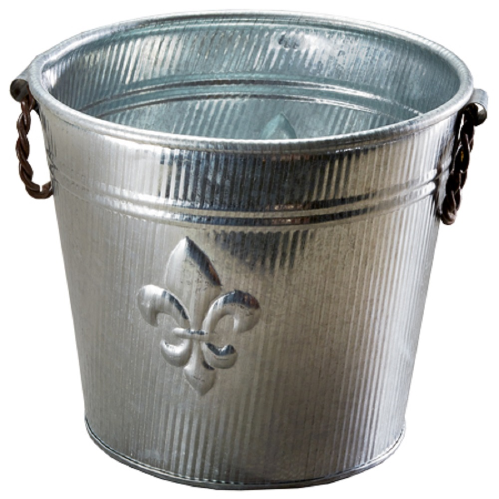 Galv Fleur De Lis Ribbed Bucket1 - 8604