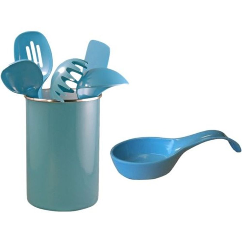 Calypso Basics Turquoise Utensil Holder And Utensils Set